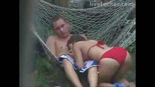 Hot girl in red bikini cheats outdoor amateur