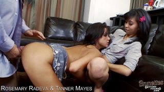 Brunettes Rosemary Radeva and Tanner Mayers sharing cock